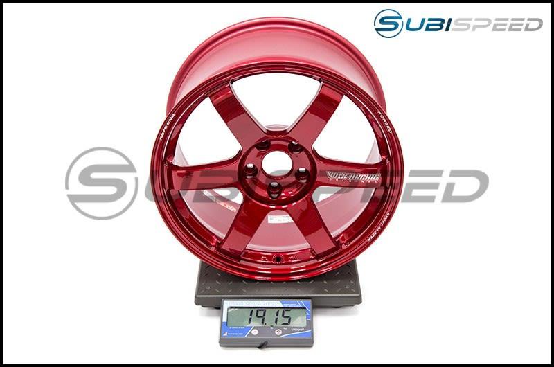 Volk TE37 SAGA Hyper Red 18x9.5 +38 Subi Scale