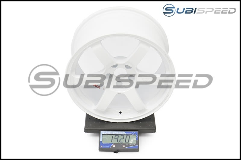 Volk TE37 SAGA Dash White 18x9.5 +38 Subi Scale