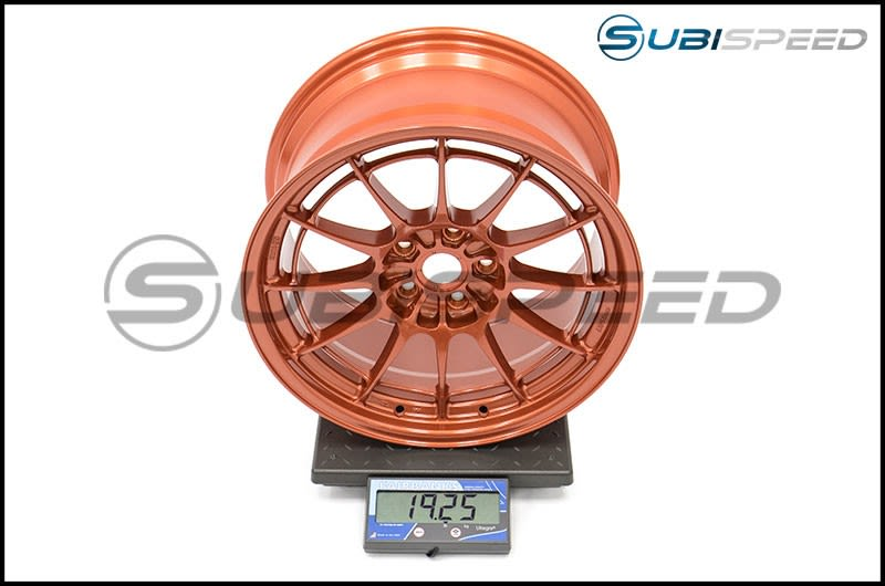 Enkei NT03+M 18x9.5 +40mm Orange Subi Scale