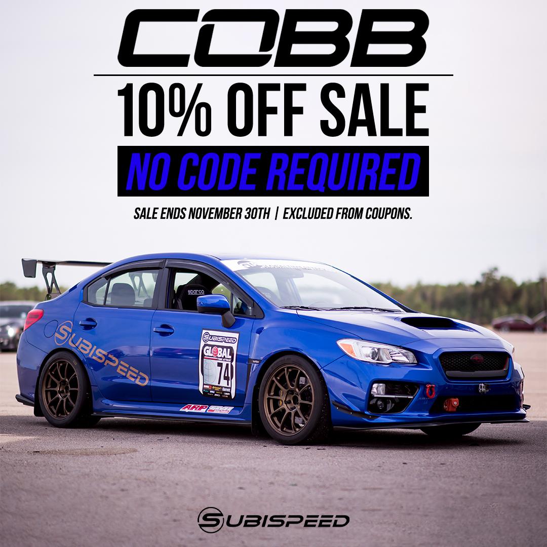 Cobb mods, parts, & acccessories are 10% off for a limited time! No code neccessary! Cobb Black Friday 2020 15 - 20 WRX STI