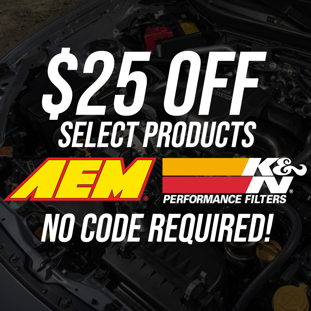 AEM and K&N filters $25 off select parts!